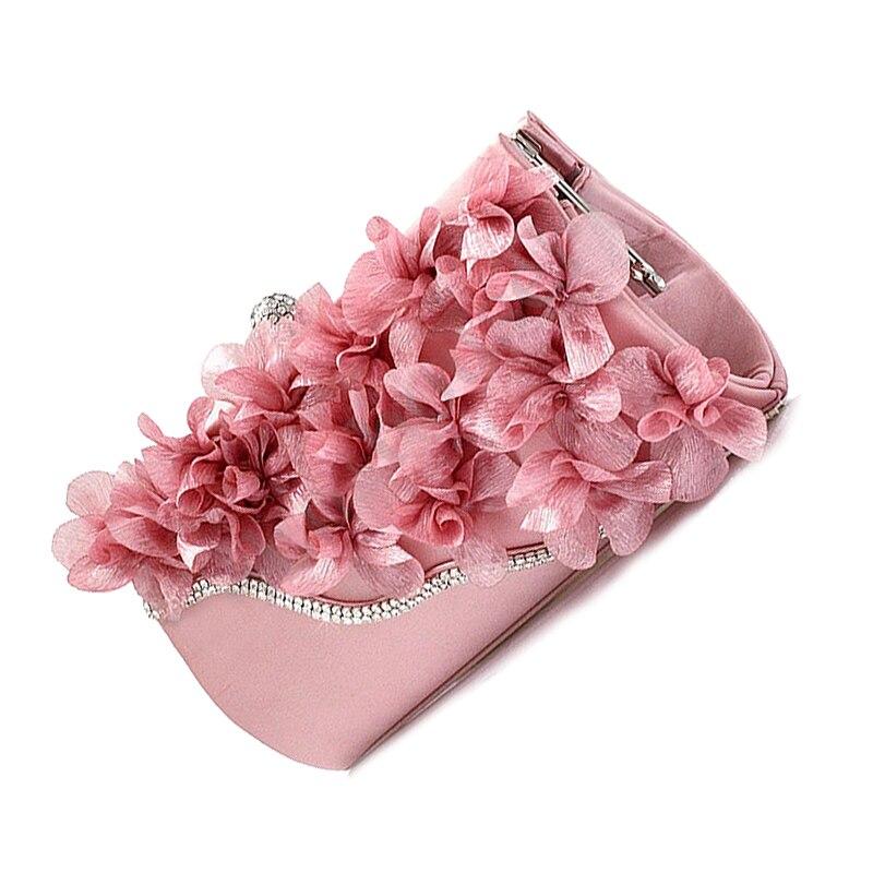 NEW Lady Satin Clutch Bag Flower Evening Party Wedding Purse Chain Shoulder Handbag Colors:Pink lady satin clutch bag flower evening party wedding purse chain shoulder handbag