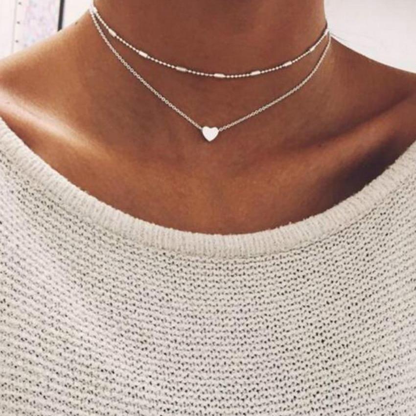 Новый двойной Слои Серебряная цепочка Любовь Сердце Цепочки и ожерелья для Для женщин Бусины колье кулон Цепочки и ожерелья Chocker Collier Femme Kolye