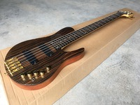 hot 5 string electric bass guitar, zebra wood, maple with real guitar photos,