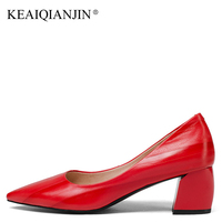 KEAIQIANJIN Woman Genuine Leather Pumps Plus Size 33 43 Green High Heels Shoes Spring Autumn Shallow