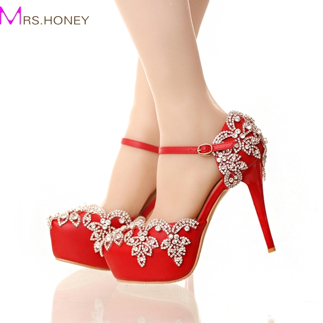 Aliexpress.com : Buy Red High Heels for Wedding with Rhinestone ...
