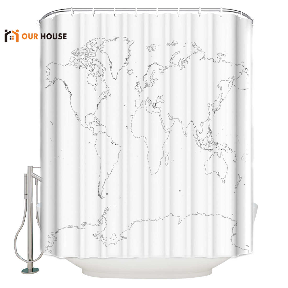 OURHouse Antarctica World Map Shower Curtain Fabric Bathroom  Sets Childrens Modern Girls Cloth Rings Bath Kids Stall Contempo
