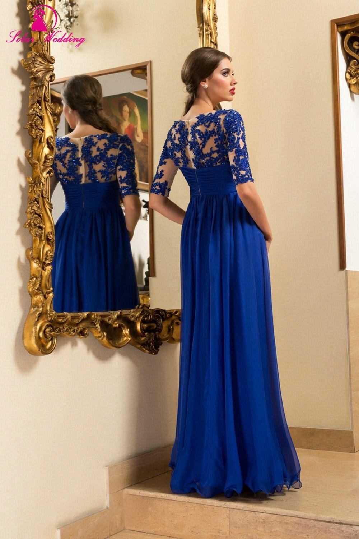 Vestidos de noche azul rey con manga