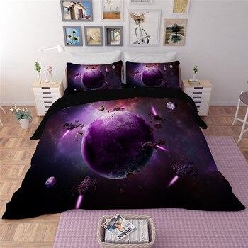 3D bedding sets Star war purple Galaxy Sky Bed Set Outer Space Bed Linens 3pcs/4pcs Twin/Queen Size 3D purple Duvet Cover set