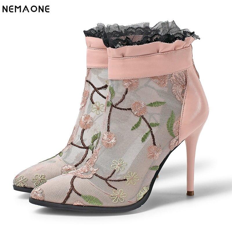 Altos Tobillo Botas Zapatos Nemaone Talla Mujeres Cuero Tacones Negro Boda Mujer 42 Bordada De Verano Genuino rosado Sexy Malla qpgRI