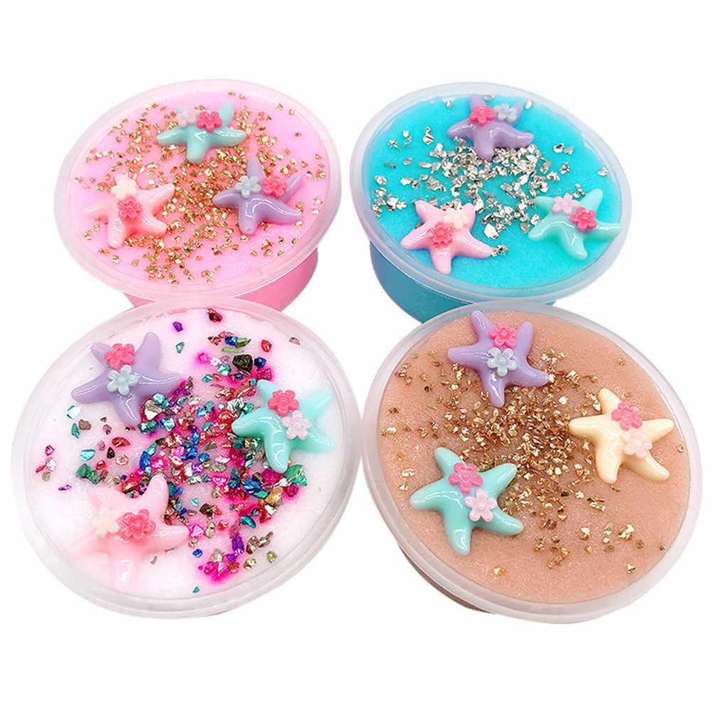 Beautiful Color Starfish Beach Slime Squishy Antistress Putty Clay Scented Stress Kids Clay DIY Clear Slime Toys Dropshipping