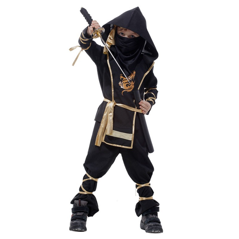 24 Hours Ship Birthday Boys Kids Ninja Cosplay Costume Halloween Grim Reaper Warrior Children Swordsman Party S-XXL