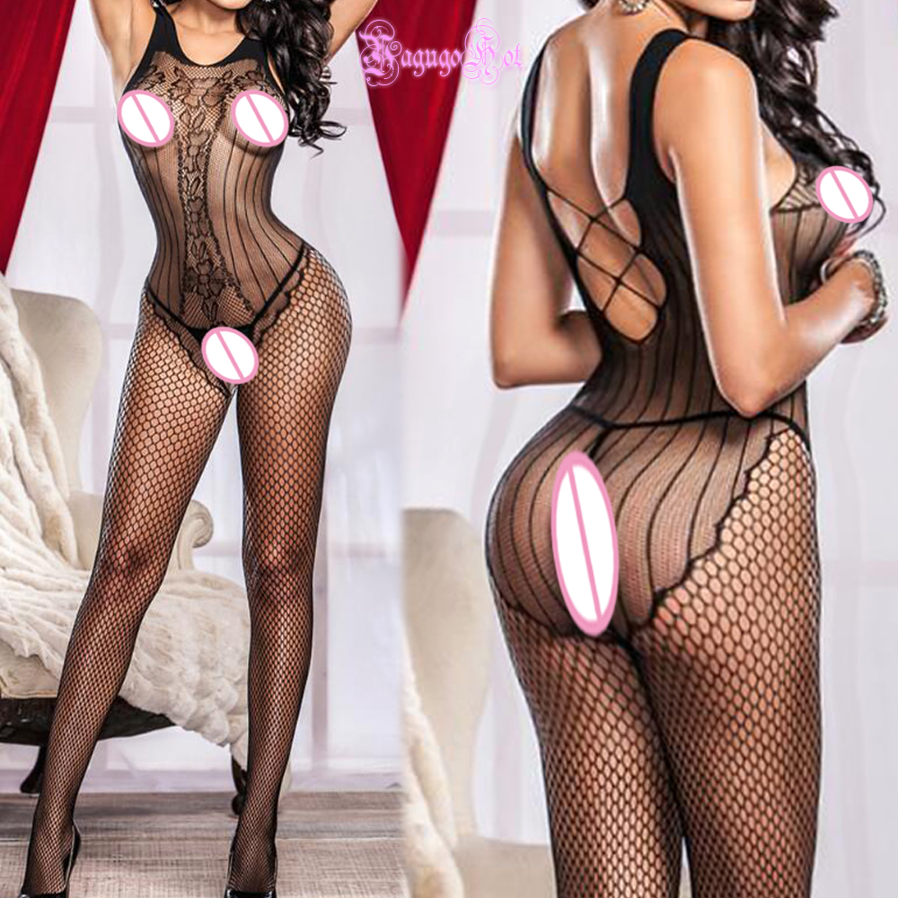 Open Crotch Hot Erotic Cross Floral Fishnet Crotchless <font><b>Corset</b></font> Back Cami Bodystocking Lingerie Babydoll <font><b>Sexy</b></font> Costumes Wetlook image
