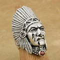 925 Sterling Silver Indian Chief Red CZ Mens Biker Rocker Punk Ring 9T007 US Size 8 to 15