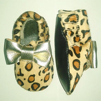 Leopard Print First Walkers Horse Hair Genuine Leather Baby Girls Shoes Toddler BOW Baby Moccasins 11