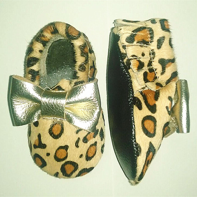 Leopard print First Walkers Horse hair Genuine Leather Baby girls shoes Toddler BOW Baby moccasins 11-15cm Free shipping