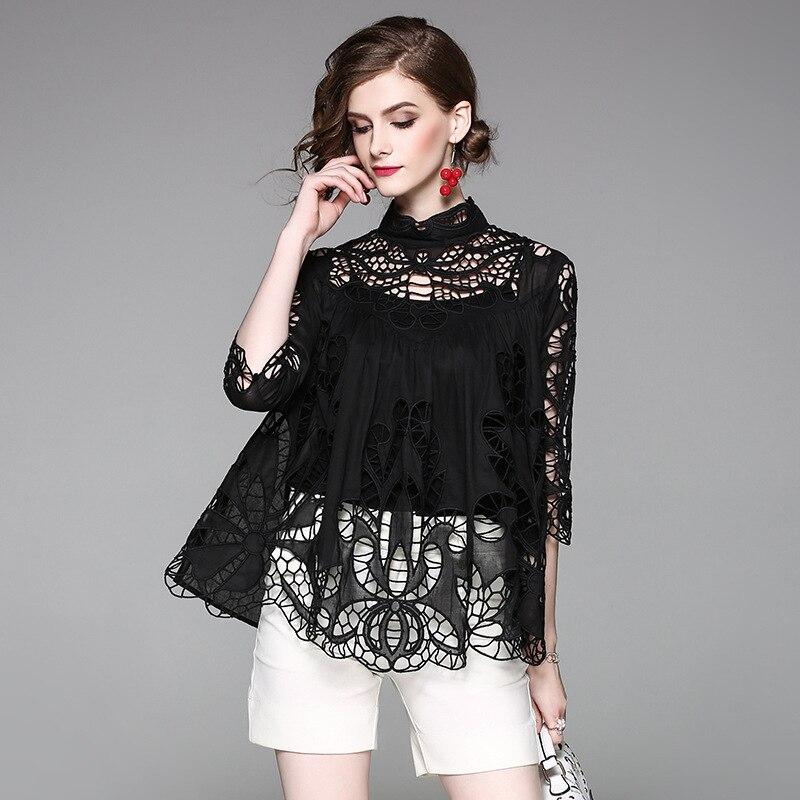 2018 printemps été hauts coton Blouse femmes col montant évider broderie chemisiers chemise décontracté lâche blanc hauts noirs Blusa