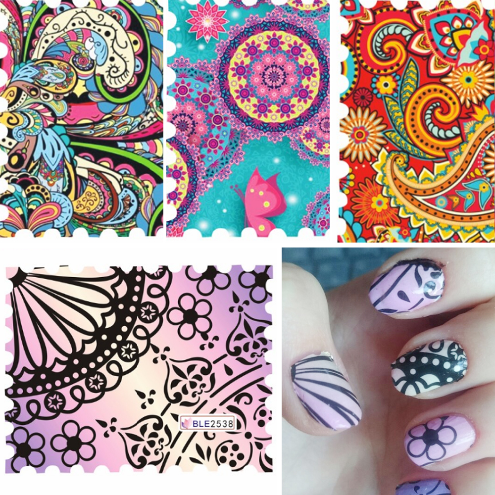 44pcs Colorful Water Nail Decals Full Cover Watermark Nail Stickers DIY Nail Decorations Water Transfer Sticker SABLE2535-2578 10 sheets lot charming nail stickers full wraps flowers water transfer nail decals decorations diy watermark manicure tools