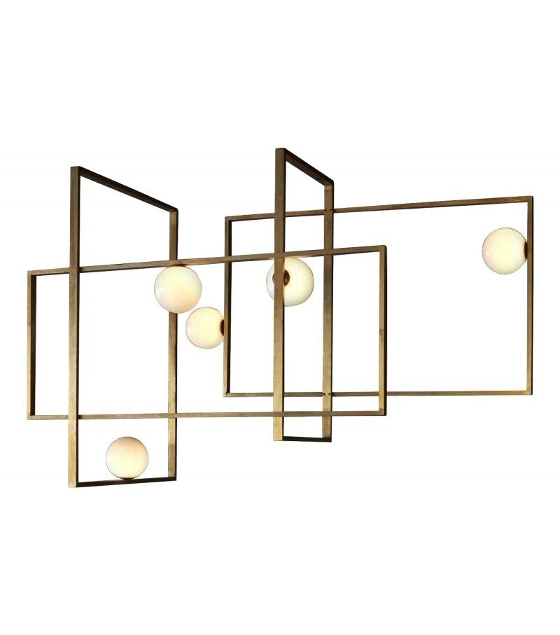 World Cup sale Modern brass MONDRIAN GLASS CEILING LAMP By VeniceM lampe LED Lampadario iluminaria light for living dining room