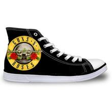 FORUDESIGNS Women Superstar White Shoes Famous Rock Band Shoes Gun N Rose Shoes Woman Help Print Girls High top Canvas Shoes