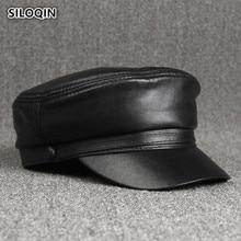 SILOQIN Autumn Winter Mens Genuine Leather Cap Simple Elegant Sheepskin Military Hats For Women New Bone Unisex Brand Visor Hat