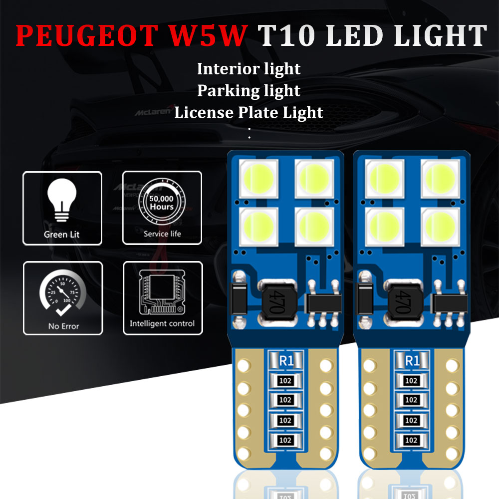2Pcs T10 <font><b>LED</b></font> <font><b>Lamp</b></font> W5W <font><b>LED</b></font> Canbus Parking Light for <font><b>Peugeot</b></font> 206 207 307 <font><b>308</b></font> 407 2008 3008 Auto Interior Lights White Red Blue image