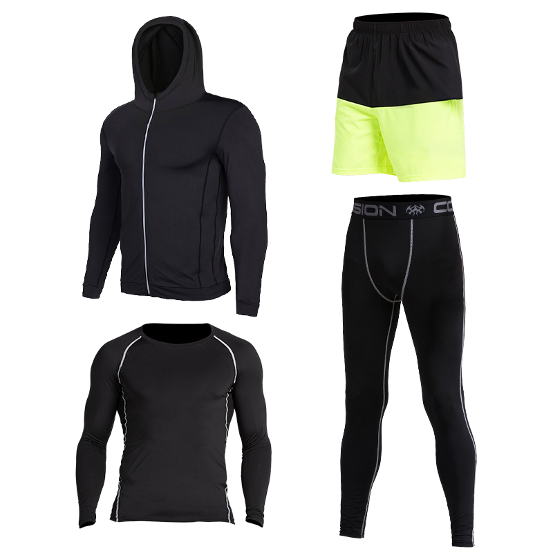 4pcs Vansydical New Men Compression Sport Suits Tights Skins Base Layers Basketball Shirts Pants  For Gym Fitness Running Sets  17 18 newest hulk bike jerseysman batman compression base layer tights men thermal long sleeve tee shirts sports jerseys fitness