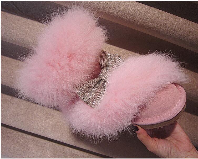 FäHig Winter Neue Rosa Große Fuchs Haar Japanischen Nette Bogen Leder Schuhe Baumwolle Schuhe Schnee Stiefel Heller Glanz