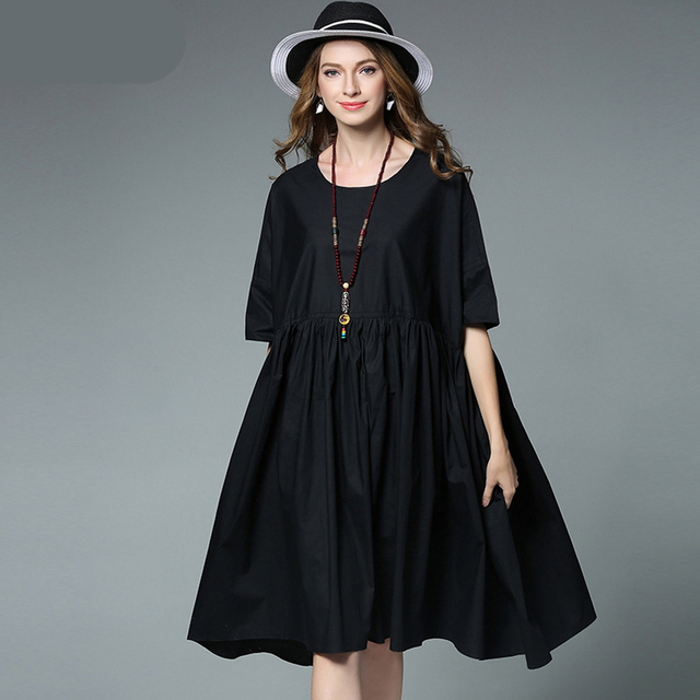 73ccc3be0fb Party 2017 Casual Fat Large Big Plus Size Women Summer Black White Fashion  Beach Cotton Dress Vestido Tunic Clothing Robe Femme