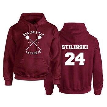 Sudadera con capucha Teen Wolf para hombre Stilinski 24 Lahey McCall pulóver Sudadera con capucha roja para Hombre Sudaderas Hip Hop Hoddies Streetwear