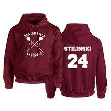"""Sweat à capuche au thème de Teen Wolf pour homme, imprimé """"Stilinski 24"""", de couleur rouge, style Hip hop"""
