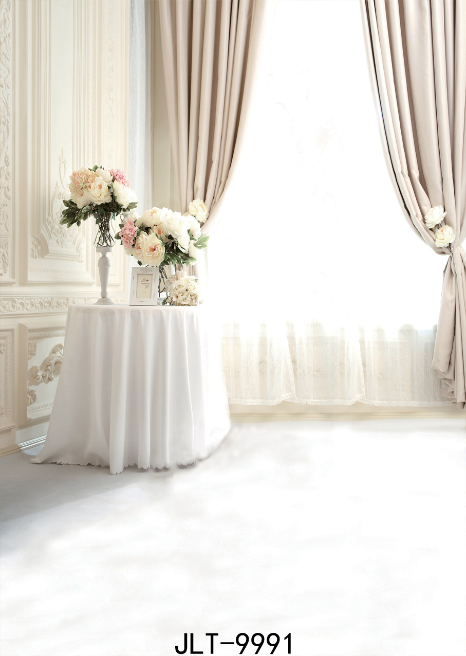 SJOLOON Classical decor French window white curtain photo background ...