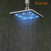 Beelee Brass Hydro Power LED Shower Head 3 Colors Temperature Control Change Rain Bath Rainfall Shower