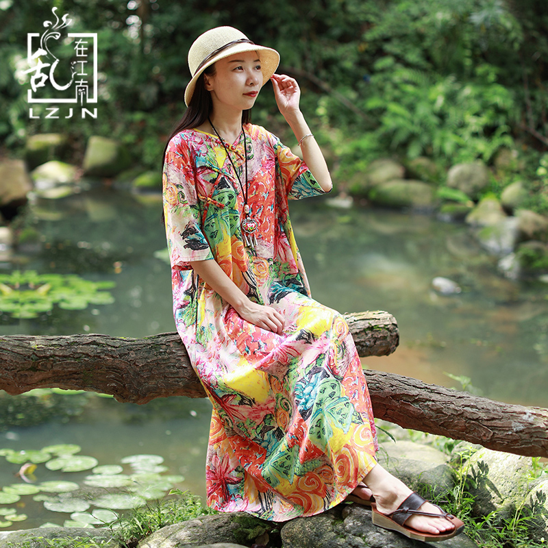 f4da96fc91 LZJN Long Ethnic Dresses 2019 Summer Robe Femme Half Sleeve V-Neck Colorful  Floral Print