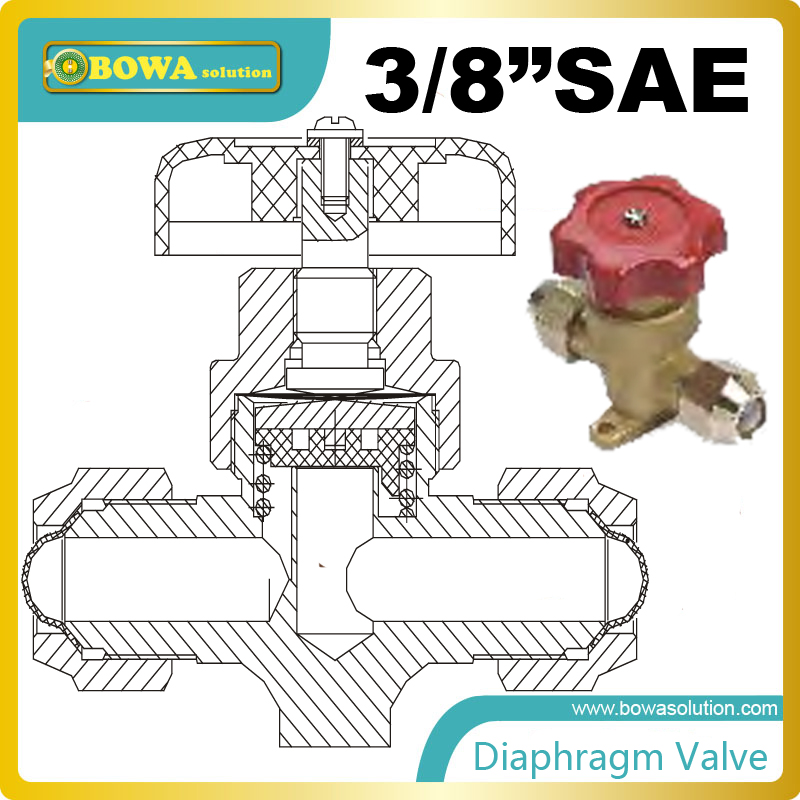 3/8 shut-off diaphragm valves are fitted with three diaphragms of stainless steel which ensure long operating life