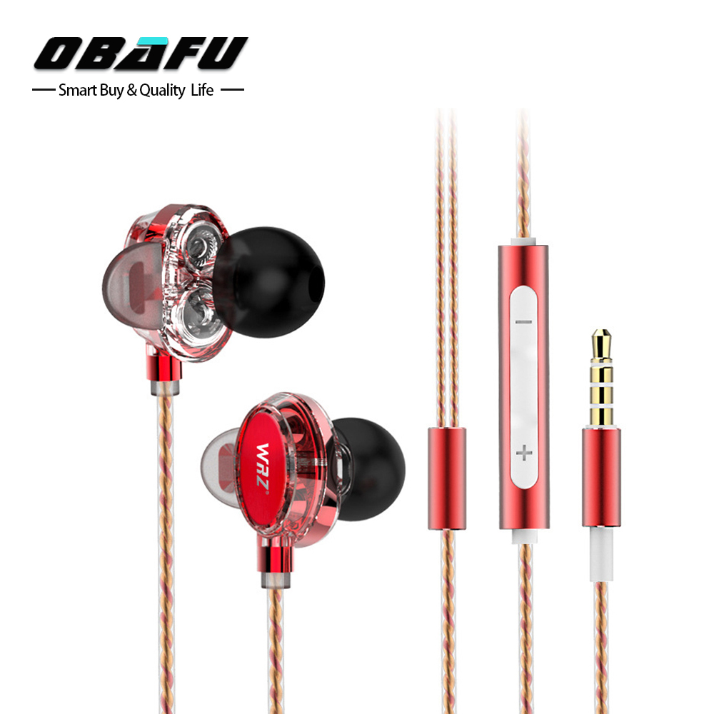 WRZ X7 Earphones Mini Dual Driver Extra Bass Turbo Wide Sound Gaming Headset MP3 DJ Field Headset fone de ouvido auriculares