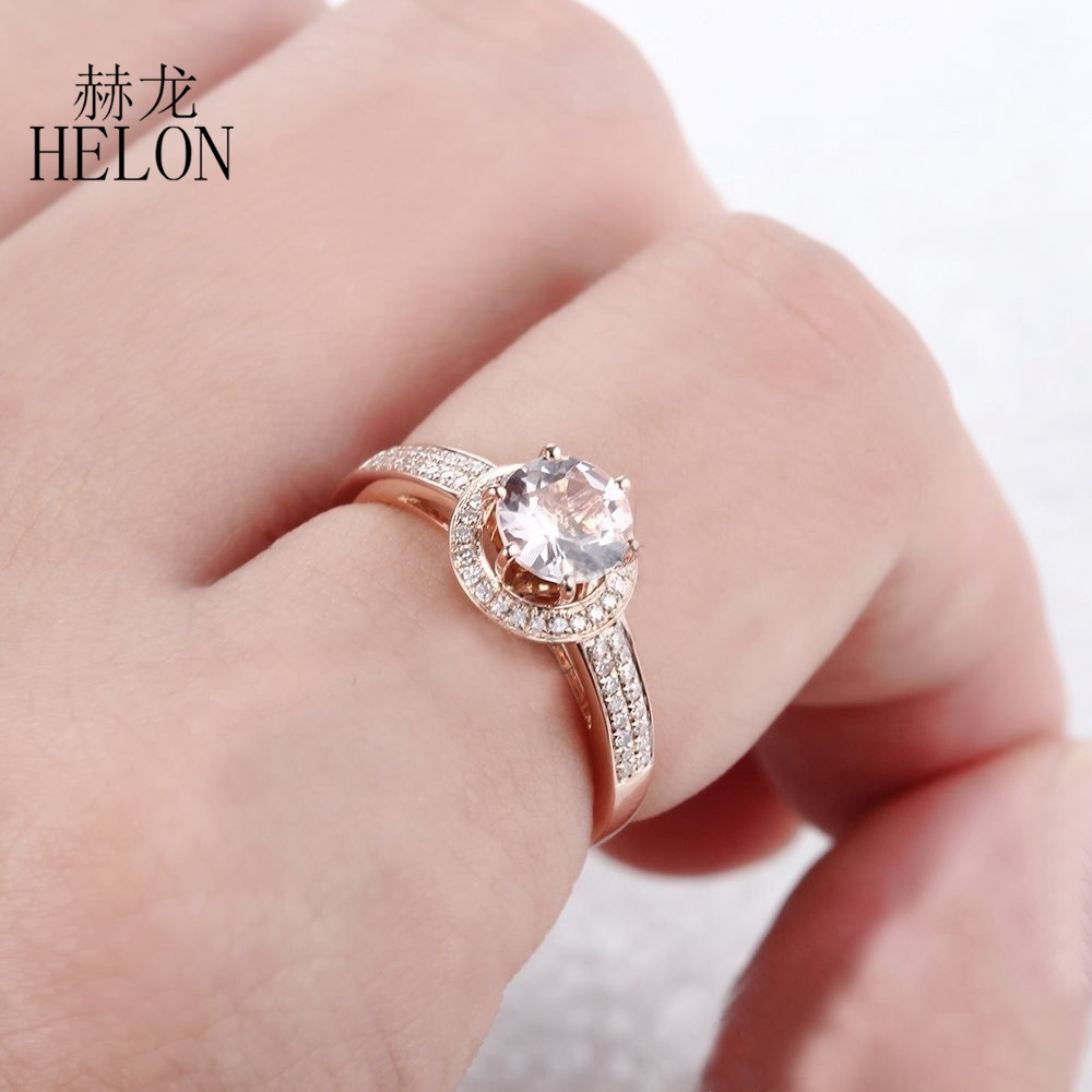 HELON Brilliant 6mm Round 0.7ct Morganite Ring Pave Natural Diamonds ...