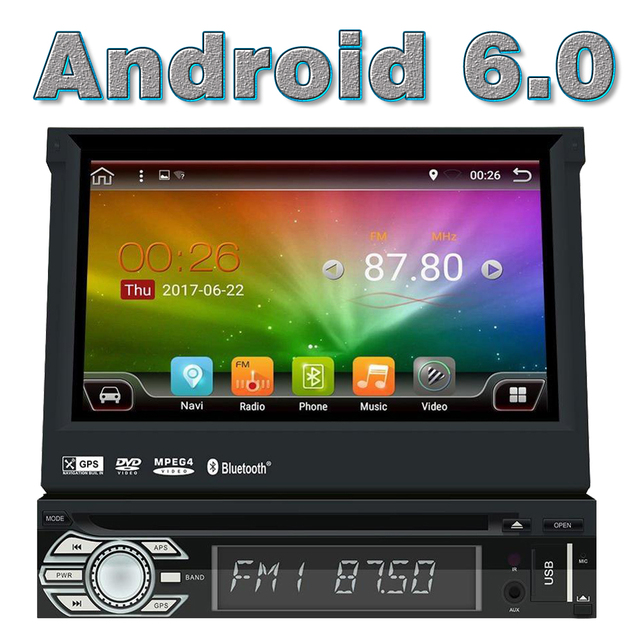 Wifi Android 6.0 1 Din Car DVD Player Stereo GPS Navigation Head Unit Universal 1din Automotibe music Multimedia Video HD 1080p