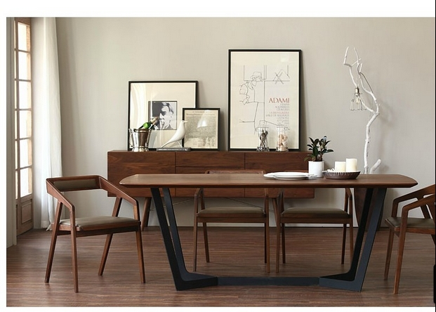 Superieur Nordic IKEA Solid Wood Dining Table Desk Minimalist Painting Industry Iron  Tables