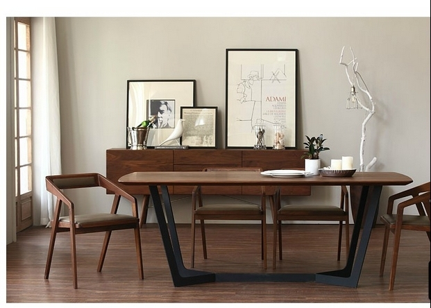 Nordic Ikea Solid Wood Dining Table Desk Minimalist Painting Industry Iron Tables