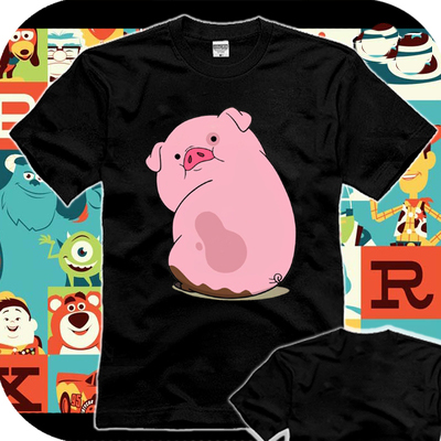 New Gravity Falls Pig T-shirt Cosplay T Shirt Cotton Short Sleeve Tops Tees Men
