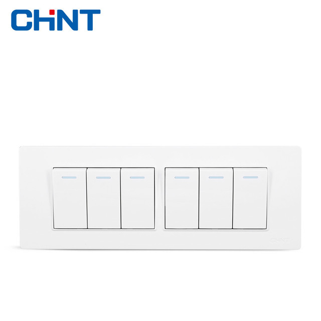 CHINT Four Position Six Gang Two Way Switch Panel 118 Type Switch ...