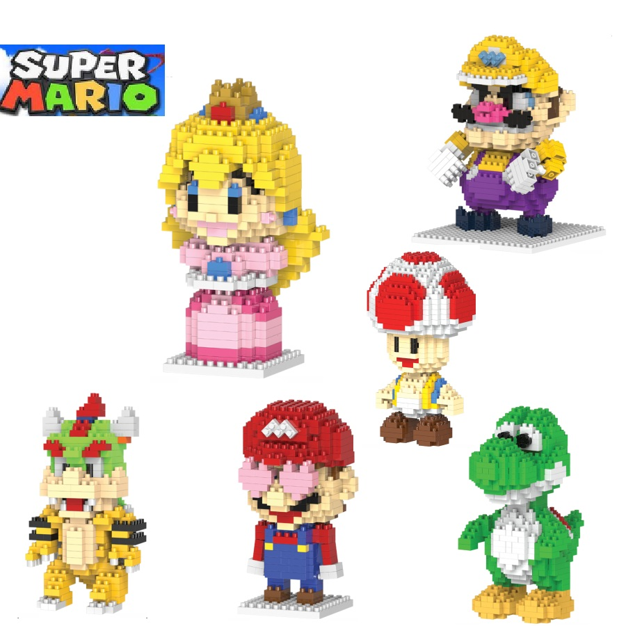Mario building blocks Yoshi Cartoon Building toys Wario Auction Figures Princess Toadstool Peach Model Toys for Kids Cute Gifts hc big size super mario micro blocks stitch micro blocks diy building toys cute cartoon juguetes auction figures kids gifts 9003