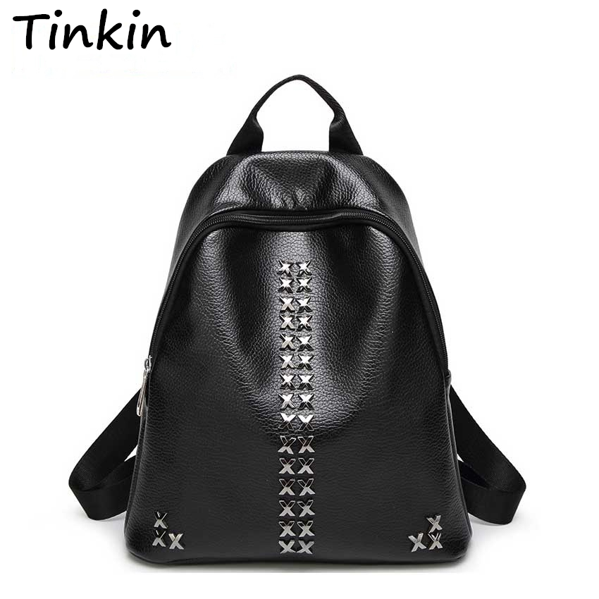 Tinkin College Student School Backpack Bags for Teenagers Vintage Mochila Casual Rucksack Travel Daypack