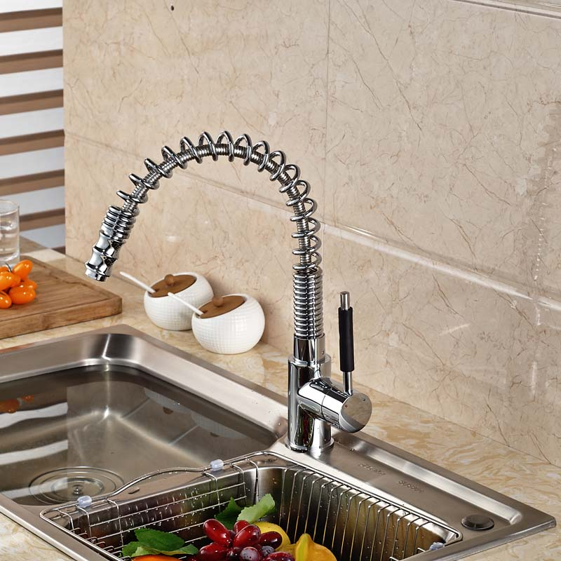 Luxury Deck Mount Pull Out Spring Kitchen Sink Faucet Single Handle Mixer Taps with Hot Cold Water luxury pull out kitchen faucet deck mount kitchen water taps with hot and cold water single handle crane taps