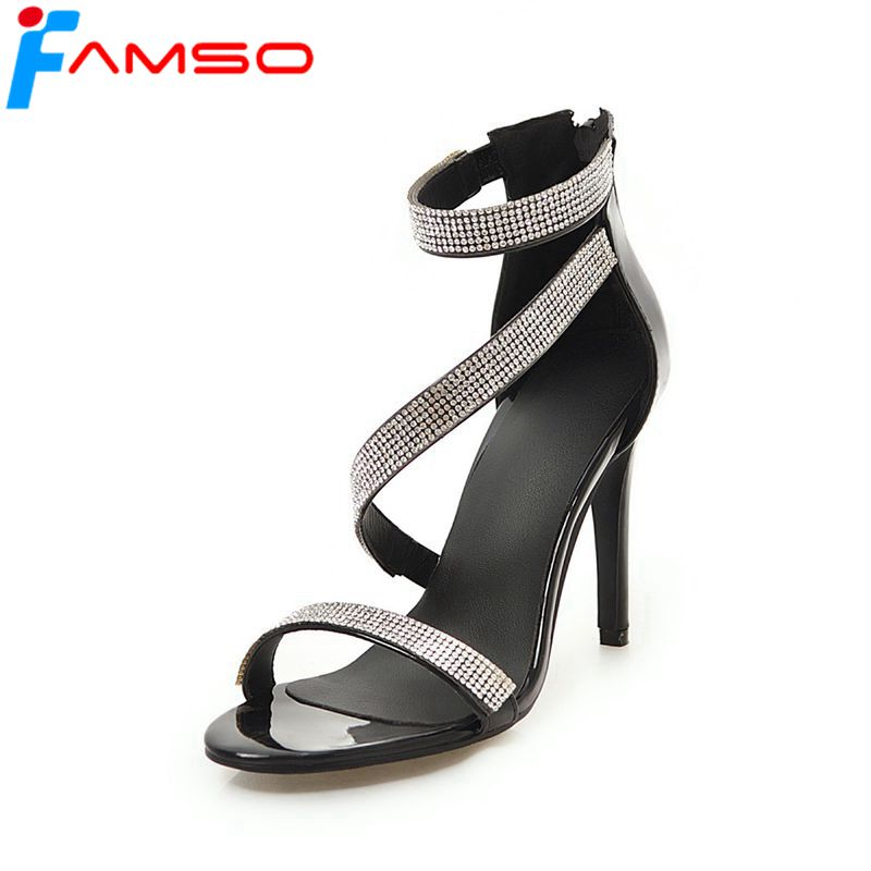 FAMSO Size34-43 2018 New Women Sandals black Gold Silver Rhinestone Pumps Shoes Summer Female Zipper Party Lady Work Sandals
