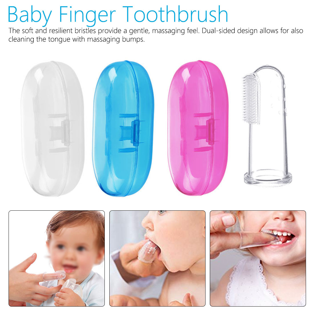 5 PCS Soft Rubber Tooth Massager Brush Silicone Finger Toothbrush For Baby Pets