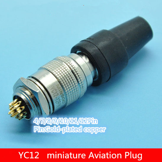 1PCS AP050  YC12 4/7/8/9/10/11/12Pin 12mm Male & Female Connector miniature Aviation Plug M12 Circular Socket+Plug Free shipping 1pcs gx20 8 pin male