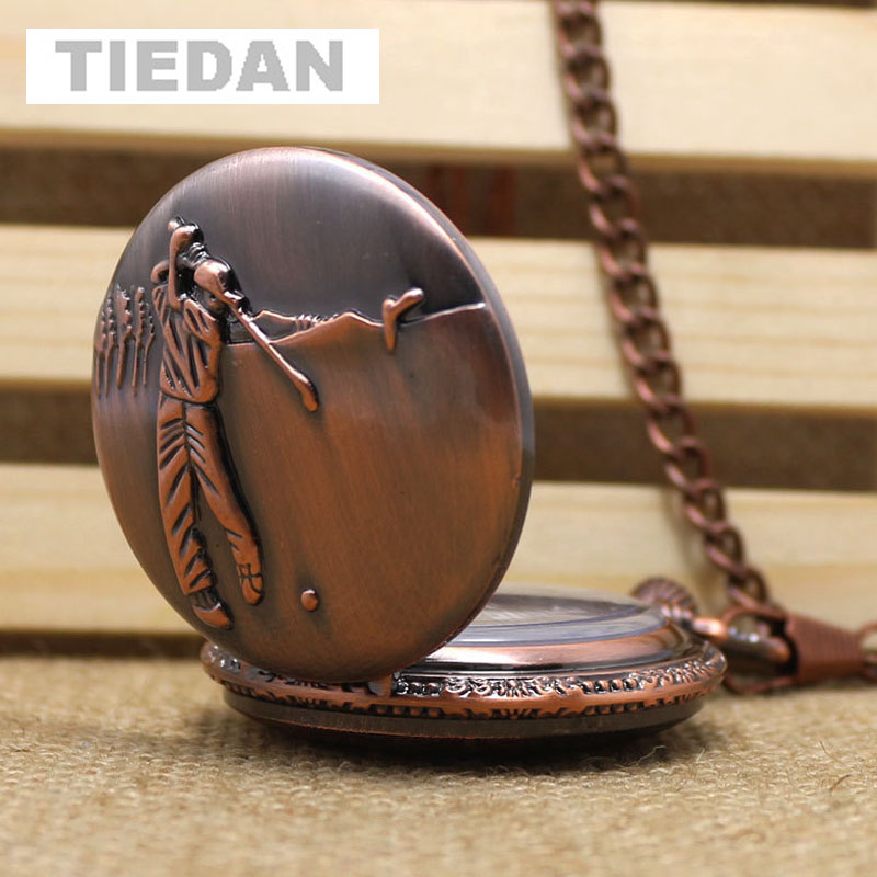 TIEDAN BRAND Hot Selling Red Copper Playing Golf Antique Pocket Watches Round Vintage Quartz Fob Watch with Necklace Unisex Gift
