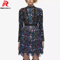 2018 Sexy Women Lace Embroidery O Neck Elegant Patchwork Hollow Summer Dress Female Mesh Long Sleeve