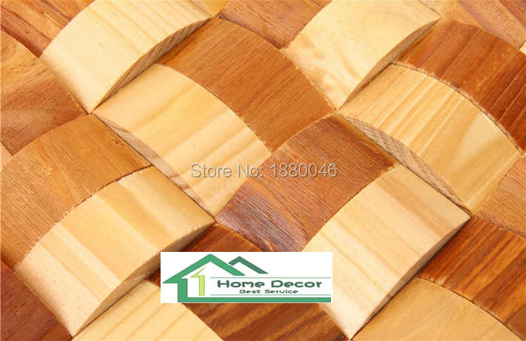 Curve Design Art Mosaic For Decoration Wall Tile 3d Pine Wood Mosaic Wall Panel Decorative Interior Wall Plank