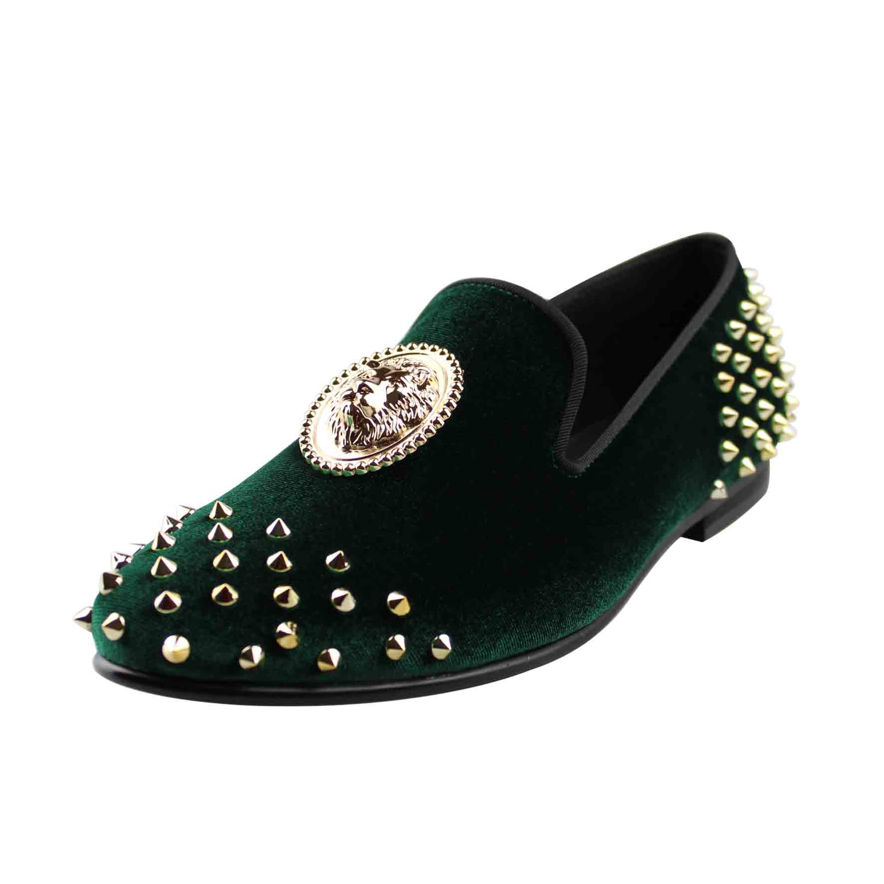 Harpelunde Men Spike Shoes Green Velvet Loafer Slippers Animal Buckle Footwear