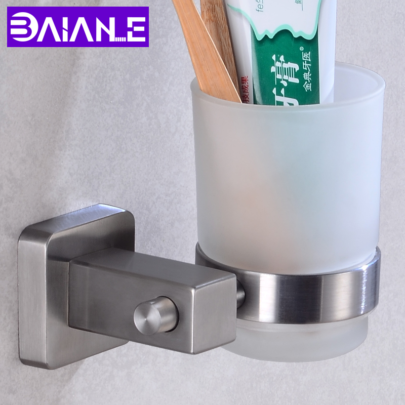 Cup Tumbler Holders Stainless Steel Bathroom Toothbrush Holder Cup Glass Wall Mounted Bathroom Accessories Toothbrush Holder Set image