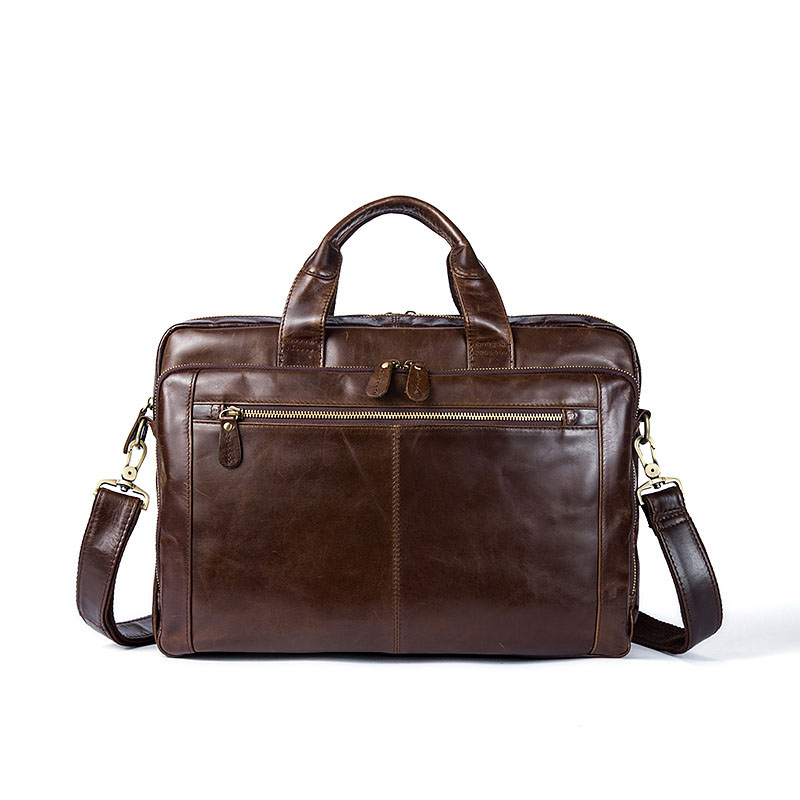 New Men's Laptop Briefcase Business Retro Pure High-capacity Genuine Genuine Leather Soft Face Oil Coffee Laptop Handbags