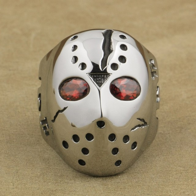 Halloween Jason.Us 13 0 316l Stainless Steel Halloween Jason Mask Hockey Red Cz Eyes Mens Ring 3f301a In Rings From Jewelry Accessories On Aliexpress Com